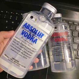 Wholesale Wine Beer Bottle Design Soft TPU Phone Case Cover D Transparent ABSOLUT VODKA Case For iPhone SE S S Plus inch MOQ piece