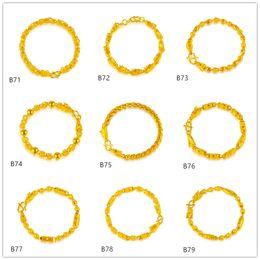 Auspicious Dragon Sand Pearl hollow yellow gold bracelet 6 pieces mixed style GTKB10,Online for sale fashion men's 24k gold bracelet