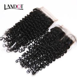Brazilian Curly Virgin Hair Lace Closure Free Middle Part Peruvian Malaysian Indian Cambodian Mongolian Deep Kinky Curly Human Hair Closures