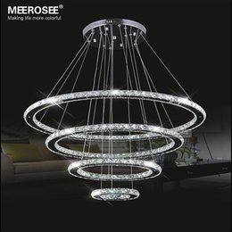 Miroirs suspendus décoratifs en Ligne-Miroir en acier inoxydable de cristal de diamant Éclairage 4 Anneaux Lampe LED Lampe suspendue Cristal Dinning décorative Suspendre