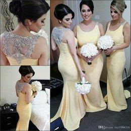 Light Yellow Mermaid Bridesmaid Dresses 2018 Elegant Beaded Back Crystals Sparkly Wedding Guest Dress Custom Made Satin Bridesmaids Dresses
