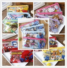 Wholesale Frozen Kids learning items minions cars mickey stationery set for Students children Pencil cases Bag Ruler Pencil notebook sharpener Eraser