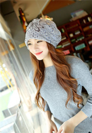 Wholesale Ladies Hat Ladies Autumn And Winter Hollow Lace Korean Double layer Flowers To Do On Warmth Of Wind resistant Chemotherapy Caps S279