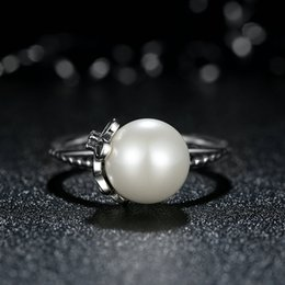 Cultured Elegance Authentic 925 Sterling Silver Rings with White Pearl Fashion Women Engagement Wedding Finger Rings R066