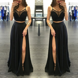 Sexy Black Illusion Two Pieces Prom Dresses 2017 Front Split Spaghetti Strap Long Formal Party Prom Gowns evening Celebrity Graduation Gowns