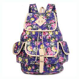 2016 Korean Fashion Floral Print Backpack Large Capacity Traveling Backapck Hot Canvas Adorable Girls Backpack Blue