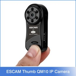 Wholesale Escam Thumb QM10 HD P WiFi IP Camera Indoor mini Infrared Day Night support Video Audio Snap picture remote on mobile