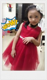 EMS DHL Free Hot Sale Girls Clothes Red Girl Dress flower girl dresses for wedding pageant Kids Dresses for Girls Costumes 1 to 10 Years