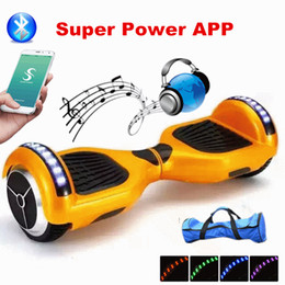 Wholesale New Super Power APP Hoverboard d Smart Balance Scooter Electric Scooter Inch Smart Balance Wheel LED Light Bluetooth Self Balancing