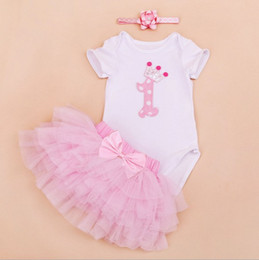 Wholesale baby girl infant toddler piece outfits lace Crown Number birthday cupcake romper onesies pajamas tulle tutu skirt headband sets