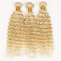 Promotion 24 profonds faisceaux de cheveux bouclés Blonde Peruvian Hair Deep Wave 3 Offres Lot Lot # 613 Blonde cheveux humains Blonde Extensions cheveux bouclés Platinum Blonde Deep Curly