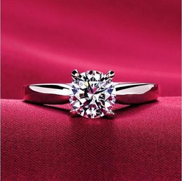 18k Classic 1.2ct white gold Plated large CZ diamond rings Top Design 4 prong bridal wedding Ring for Women