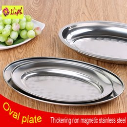 Wholesale High Quality Non Magnetic Stainless Steel Plate Thickening Deepen Oval Plate Steamed Vermicelli Ordinary Shallow Dish CM