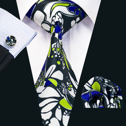 Mens Silk Printed Ties Mix Color Pattern Business Wedding Novelty Tie Set Include Tie Hankerchief Cufflinks Freeshipping N-1234