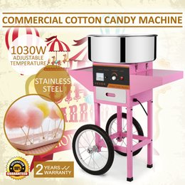 Wholesale COTTON CANDY MACHINE CART Brand New Commercial Electric Cotton Candy Machine Floss Maker Pink with Cart Stand Hot sales
