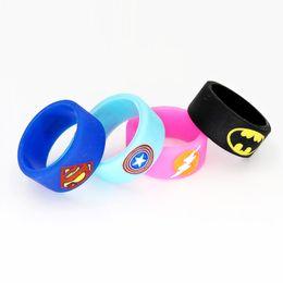 Wholesale Superman Batman Captain America Flash Silicone Vape Band Engraved Logo Silicon Beauty Decorative Ring for Glass Tanks Rda Atomizer Vape Mod