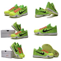 Wholesale with shoes Box Bryant Kobe X KB Men Basketball Shoes Elite Low ID QS Grinch Coal Hearted Kids shoes