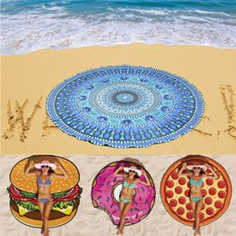 Wholesale 23 Types CM Round Beach Towel Bohemian Style Chiffon Polyester Fabric cm Bath Towels Round Printed Serviette Covers Blanket for Summer