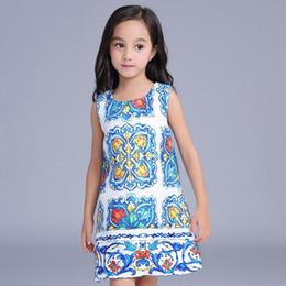 Wholesale 7pcs Autumn European Design China Blue Art Girls Dress Sleeveless Children Princess Vintage Dressy Girl Dresses Clothes K7913