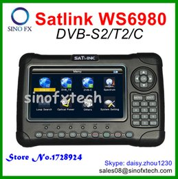 Wholesale SATLINK WS6980 DVB S2 T2 C combo signal finder meter Spectrum analyzer satellite finder inch LCD screen WS for DVB S2 DVB T2 DVB C