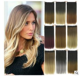 Wholesale Hot Sale America wigs cm Straight hair clip hair curtain Dyed hair shade wig Colors hair wig