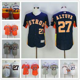 Wholesale Jose Altuve Jersey Flexbase Dark Blue Rainbow Orange White Gre Houston Astros Jerseys