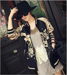 Canada Femmes Vintage Broderie Phoenix Bird Flowers Jacket Casual Deux Side Wear Baseball Coat Golden Bomber Pilots Outwear YN-4256 FREE SHIPPIN two wear deals Offre