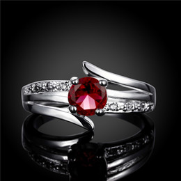 Hot sale Full Diamond fashion Driving three lines 925 silver Ring STPR055B brand new red gemstone sterling silver plated finger rings