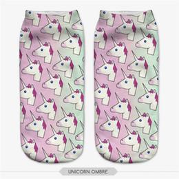 Wholesale-ombre unicorn socks 2016 fashion 3D printed cotton Harajuku Ankle short Socks for women