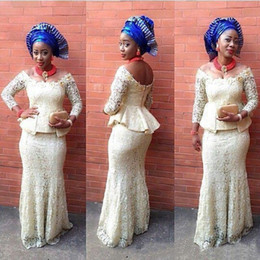 Wholesale Elegant Aso Ebi Styles Mermaid Evening Dresses Long Sleeves Nigerian Full Lace bella naija Traditional Africa Arabic Prom Party Gowns