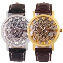 Wholesale New Arrivals Cheap Non mechanical Mens Watches Quartz Movement hollow classic couple wristwatches Imitation machinery Leather Watches