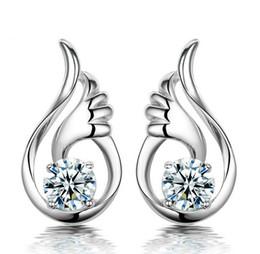 Crystal Angel Wings Stud Earrings Swarovski Elements 30% 925 Sterling Silver Overlay Jewelry Women Bohemian Ear Jewelry Wedding Earrings