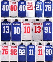 Wholesale Giants Eli Manning Phil Simms Odell Beckham Jr Ahmad Bradshaw Victor Cruz Pierre paul size small S XL