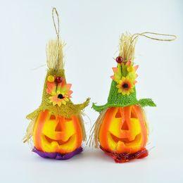 Wholesale Halloween Glow scarecrow pumpkin lights flash toys performance props pumpkin discos all saints decoration bar