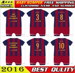 Custom Baby Sleeveless Jumpers New 2016  2017 Best Quality shirts Soccer MESSI NEYMAR 16 17 SUAREZ PIQUE HOME baby oneise romper for 0-12M