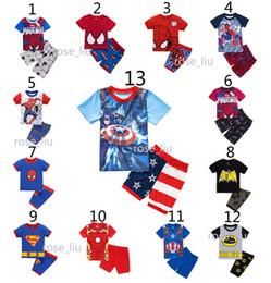 Boys Bat spiderman Pajamas suits DHL 13 Design children Super hero Avengers Captain America Iron Man Short sleeve + shorts 2pcs suit B