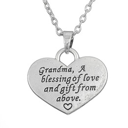 Love Family Quote Grandma A Blessing of Love And Gift From Above Heart Pendant Necklace