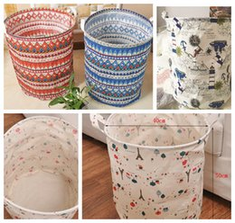 2017 stockage pour les jouets Zakka Pliable Laundry Basket Hamper Storage Bag Pop-Up à linge panier à linge Toy Organizer panier Hampers 40 * 50cm LJJK516 promotion stockage pour les jouets