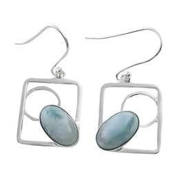 Larimar earrings pure American handcrafted Oval shaped for party sterling silver 925 gemstone for E6893L