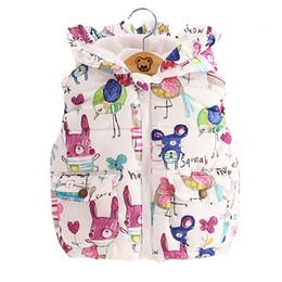 Wholesale Cotton Lined Coats - 2016 Autumn winter children clothes new girls Outerwear&Coats Animal Graffiti hooded Girls Vest Jackets Baby Girl Warm Waistcoat