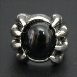 3pcs lot New Design Black Color Huge Stone Ring 316L Stainless Steel Fashion jewelry Band Party Biker Dragon Claw Ring
