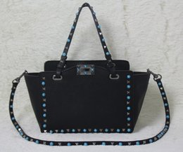must have~ w332 genuine leather 4 colors gem shopping tote bag luxury designer v black red nude ice blue 32*50*27*12cm 26*39*20*10cm