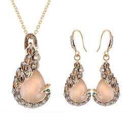 Fashion women Jewelry Sets Earring Necklace Crystal Rhinestone peacock Earrings & Necklace Wedding Party 12 sets FREE SHIPPING