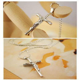 Unisex Christian Stainless Steel Jesus Cross Crucifix Chain Pendant Necklace Fashion Jewelry for Kids Boys Girls