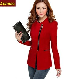 uniforme rouge pour femmes Promotion New 2016 Bureau manches longues Hot Spring Fashion New Slim Uniforme femmes Style Manteau Zippers Blanc Noir Rouge Jaune