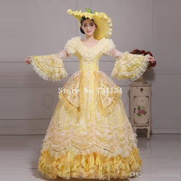 Hot Sale Yellow Lace Medieval Renaissance Marie Antoinette Ball Gowns Women  Stage Photography Show Dresses(Includes Hat+Dress) 979c77ab2b35