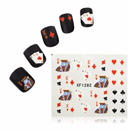 Wholesale 1 Sheet D Nail Art Stickers Water Tips Decals Transfers Poker Aces Playing Cards Casino Designs For DIY Manicure Accessories