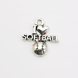 20pcs Antique Silver Plated I Love Softball Charm Pendants for Bracelet Necklace Jewelry Making DIY Handmade Craft 20x20mm