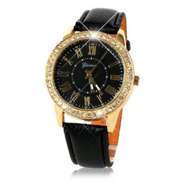 Brand new  Fashion Women Dress Watches Faux Leather Quartz Watch Crystal Gold Watches For Womans Watch 1pcs