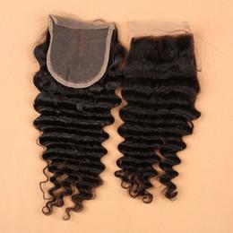 Descuento 7a encierro del pelo de la onda profunda 7A cierre de encaje 4x4 Vrigin cabello brasileño cierre de onda profunda, cierre de cabello humano con los nudos blanqueados libre medio 3 partes de cierre
